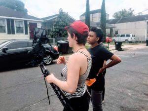 Filmming on location - Photo courtesy of crew on CATHARSIS, A Tori Himes film
